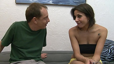 Arousing petite Katrina Zova spreads legs for man