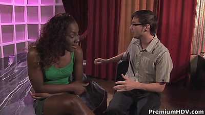 Slender looking ebony girl getting naked for male Miss Platinum