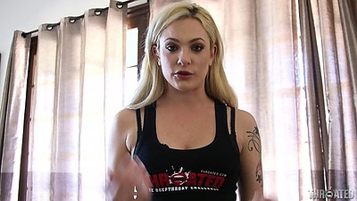 Excited tattoo blonde Dahlia Sky has her throat interview