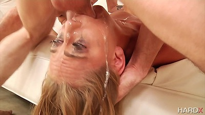 Reverser blowjob and deep throat from gagging whore Carter Cruise in group gang bang