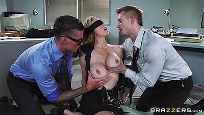 Blind folded milf Julia Ann gets worked on by two men in office
