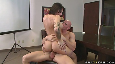Sexy busty chick with perfect shaped ass fuck at work