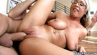 Chick sits on dick and then lays on her back