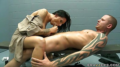 Hot busty Sheriff sucking deepthroat showing off big tits