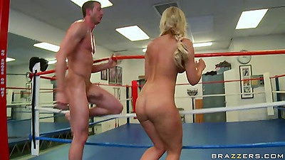 Babe jerking and sitting on cock in the gym