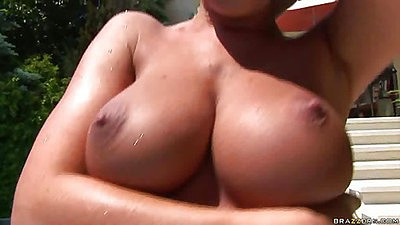 Baby got boobs euro pool party outdoors