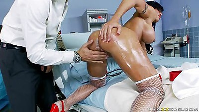 Nurse Jewels gets fingered into her asshole
