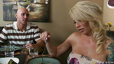 Hot blonde milf Brooke for dinner and blow job