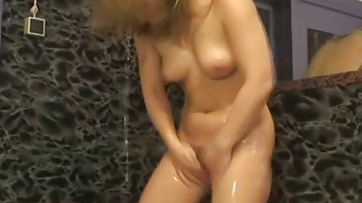 Close up hair pussy washing with soap