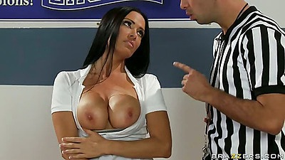 Ms DeVille gets her tits kissed by the umpire