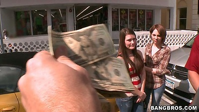 Outdoors pick up in public some teens Abby Cross and Nickey Huntsman