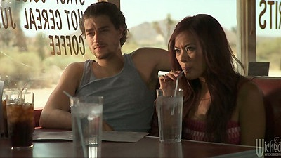 Kaylani Lei in the public diner having a bite