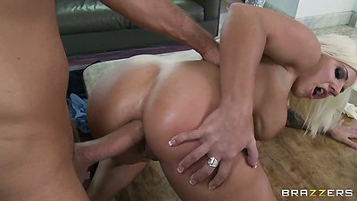 Doggy style anal with Lylith Lavey spreading her ass and cock ride