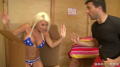 Big tits bikini hottie Jacky Joy gets tits touched and sucks dick head