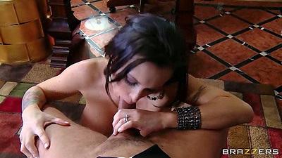 Naughty wife milf Jenna Presley pov blowjob in office