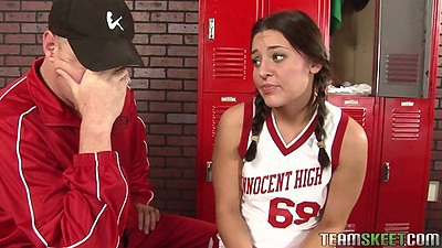 College Gracie Glam shows tits to pervert coach