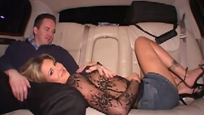 Sexy blonde Riley Brooks gets fingered and licked upskirt in the backseat