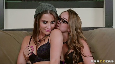 Lesbian Dani Daniels and Remy LaCroix pulling panties aside to get fingered