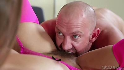 Hairy pussy licking Dani Daniels with sex on desk