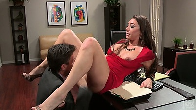 Pussy licking and fingering Kaylynn with rolled up skirt