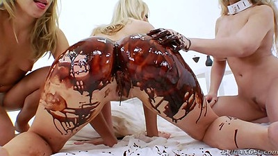 Chastity Lynn and Ashley Fires with Madison Ivy enjoy some chocolate sloppy fuck