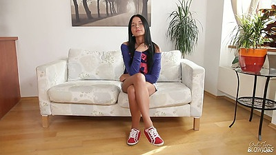 Solo teen Mia Minarotte stripping and spreading her legs