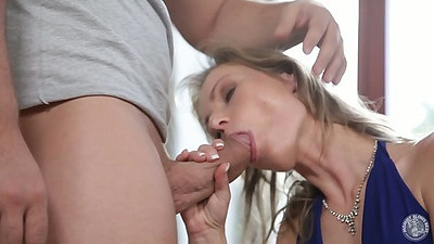 Blowjob with dressed pulled down over medium tits milf breasts Daryl
