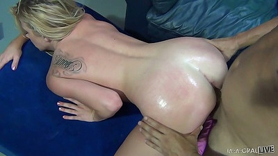 Oil doggy style Channel Rae fucked right way