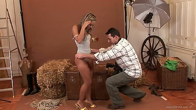 Armania Weiss undressing star sucking dick from pants while he photos her