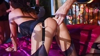 Ass fingering and hairy fucking in fetish orgy Luisa Demarco