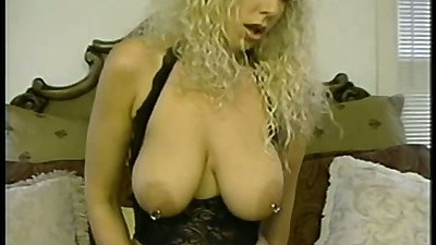Pierced big tits blonde in lingerie sitting on her dildo then filling ass and pussy with a sex toy