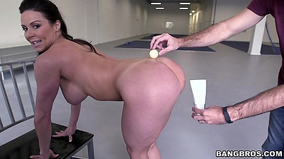 Nice busty milf Kendra Lust playing pong with her ass