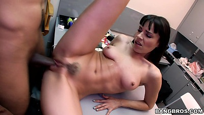 Trimmed pussy audition table fuck and pussy spreading showing a nice gape