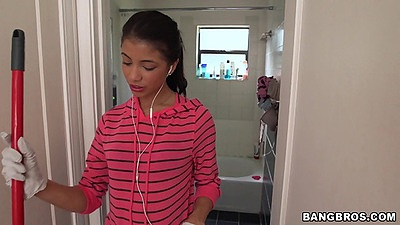 Cute latina Veronica Rodriguez doing house cleaning then caught changing in toilet