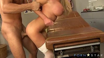 Standing fuck over medical bed with horny nurse Nikki Benz