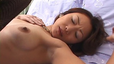 Nice asian milf in missionary and frontal entry in fishnets