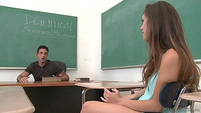 Classroom slut goes on teachers desk to please Jade Nile