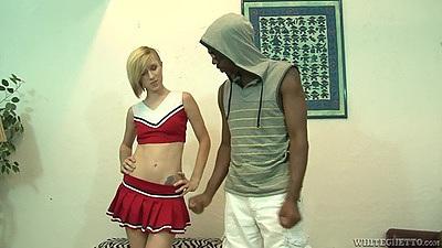Naughty cheerleader Maia Davis  interracial undressing with man