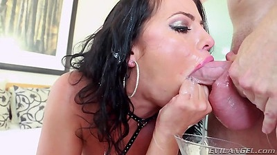 Deep throat and gagging with rough sex cum dripping slut Adriana Chechik