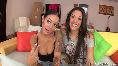 Two girls take off their shirts and spread ass Angelina Valentine and Lyla Storm