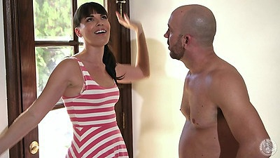 Flirting Dana DeArmond sucking off her new neighbor