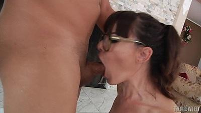 Deep throat brunette Dana DeArmond in glasses and reverse blowjob