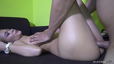 Spicy natural breasts girl fuck with legs up in air Penelope