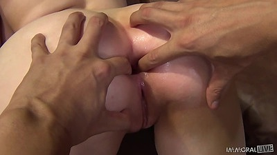 Ass fingering a gaped ass with hairless pussy girl Noelle Easton in squirt action