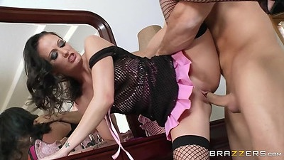 Standing fuck fishnet lingerie action with reverse blowjob Hailey Young