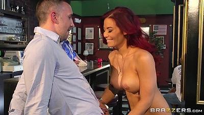 Seductive asian milf kneels for great cock sucking Ryder Skye