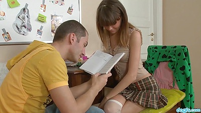 School girl nerd but good looking teen Zanna makes out and prepares for anal