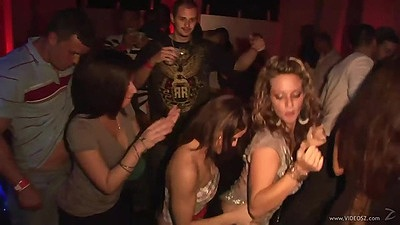 Teen girls grinding and dancing with fully clothed chicks