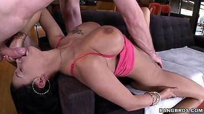 Reverser blowjob with busty brunette Peta Jensen
